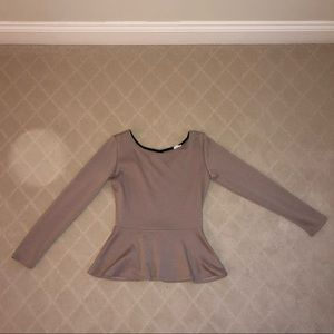 SMALL Beige TOBI peplum top with keyhole back